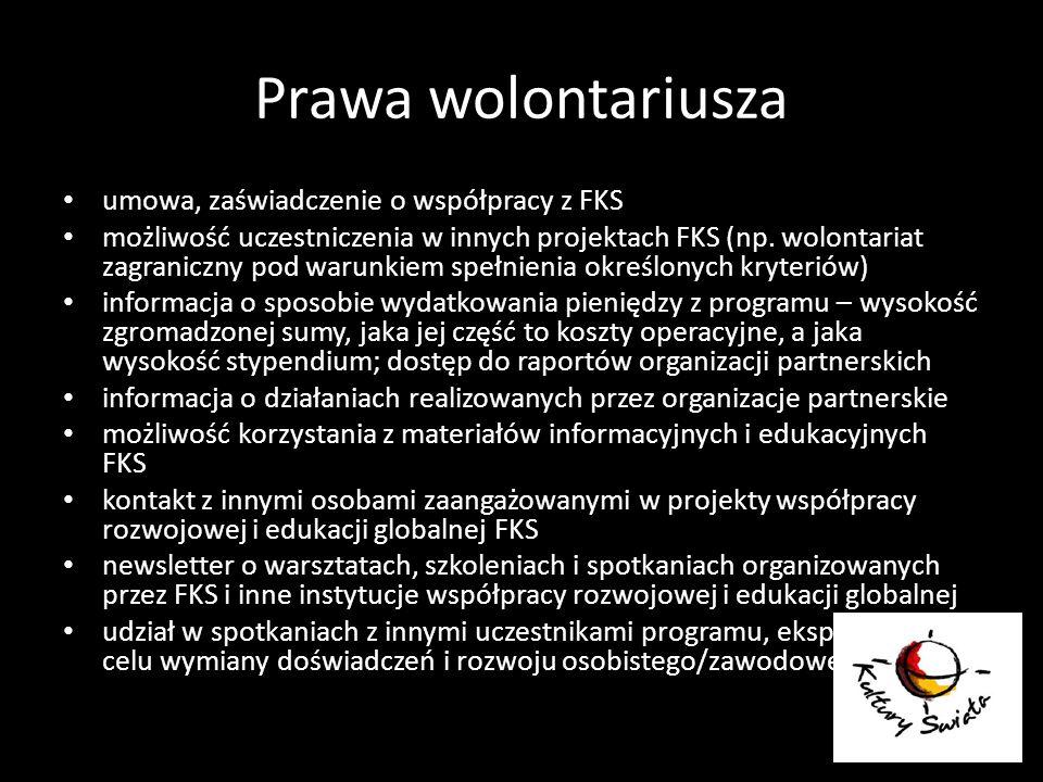 Prawa wolontariusza umowa, zaświadczenie o współpracy z FKS