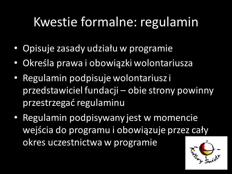 Kwestie formalne: regulamin