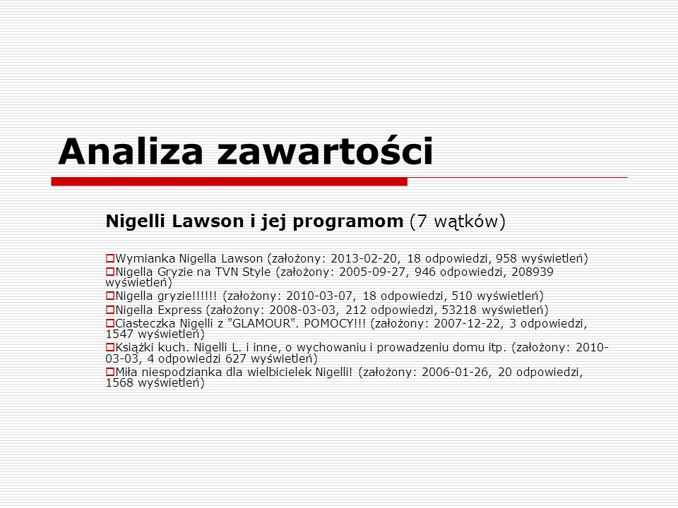 Analiza zawartości Nigelli Lawson i jej programom (7 wątków)