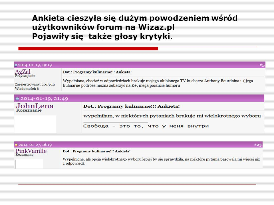 Ankieta cieszyła się dużym powodzeniem wśród użytkowników forum na Wizaz.pl