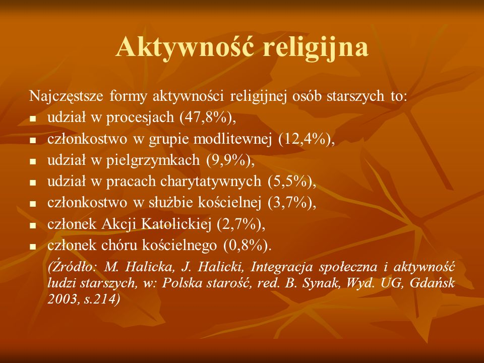 Aktywność religijnaNajczęstsze formy aktywności religijnej osób starszych to: udział w procesjach (47,8%),