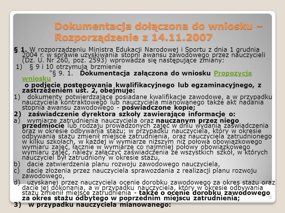 Dokumentacja dołączona do wniosku – Rozporządzenie z 14.11.2007