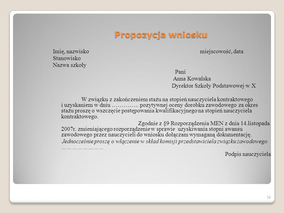 Propozycja wniosku