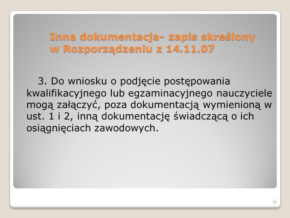Inna dokumentacja- zapis skreślony w Rozporządzeniu z 14.11.07