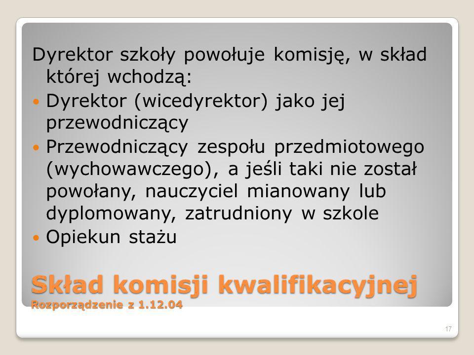 Skład komisji kwalifikacyjnej Rozporządzenie z 1.12.04