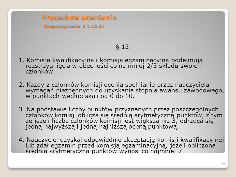 Procedura oceniania Rozporządzenie z 1.12.04