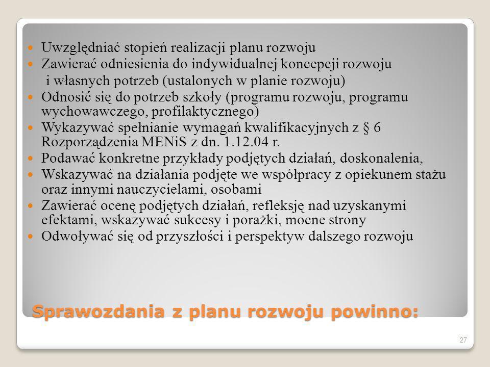 Sprawozdania z planu rozwoju powinno: