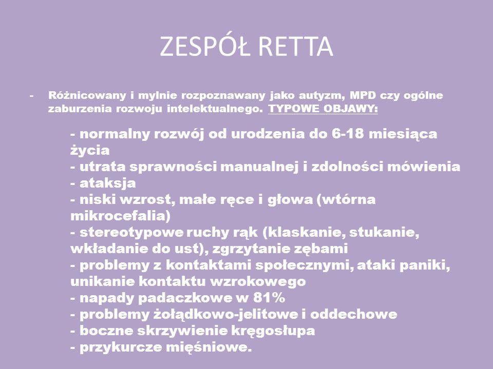 ZESPÓŁ RETTA - normalny rozwój od urodzenia do 6-18 miesiąca życia
