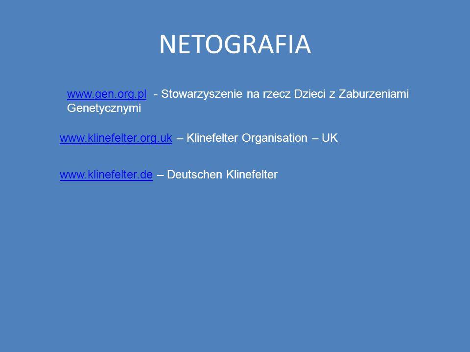 NETOGRAFIA www.gen.org.pl - Stowarzyszenie na rzecz Dzieci z Zaburzeniami Genetycznymi. www.klinefelter.org.uk – Klinefelter Organisation – UK.