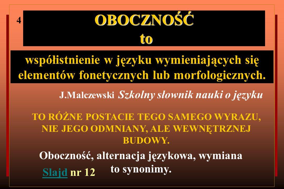 Oboczność, alternacja językowa, wymiana to synonimy.
