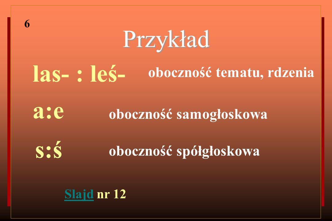 Przykład las- : leś- a:e s:ś oboczność tematu, rdzenia