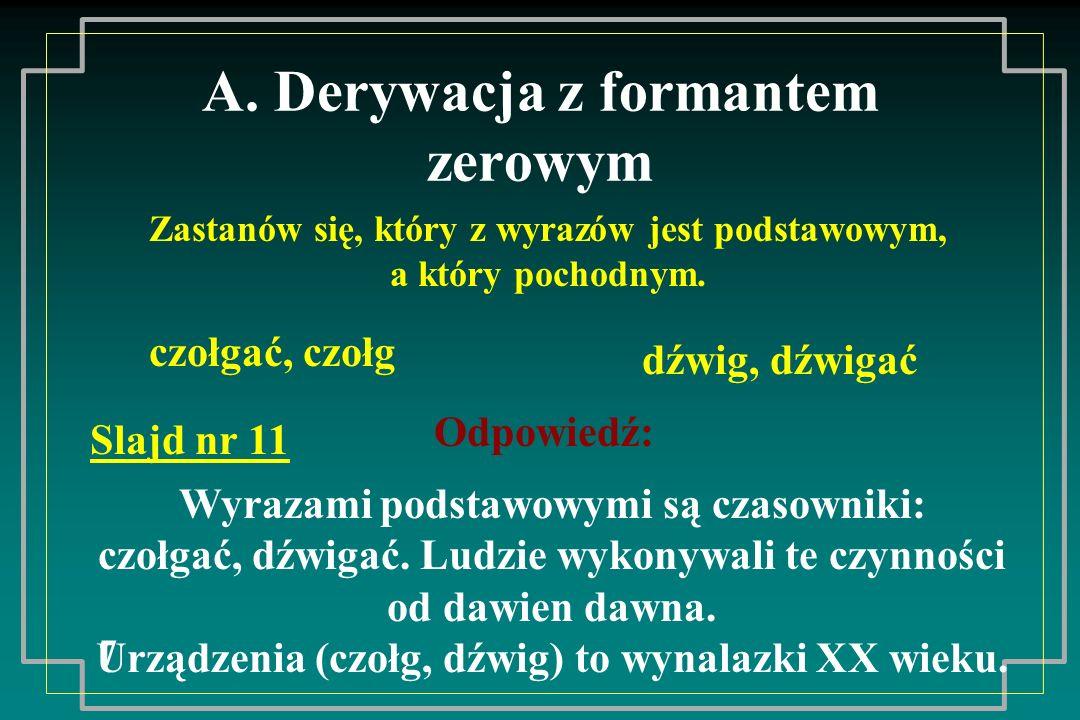 A. Derywacja z formantem zerowym
