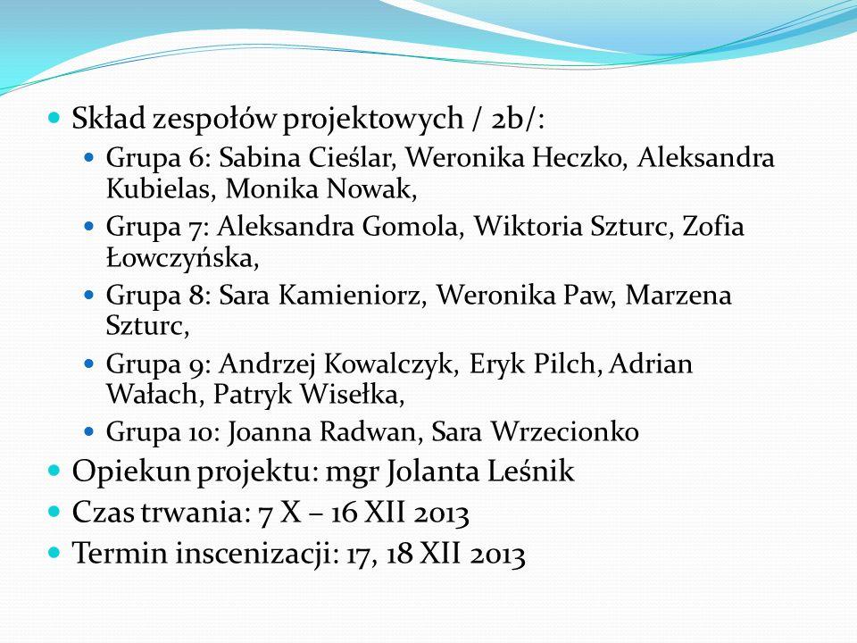Skład zespołów projektowych / 2b/: