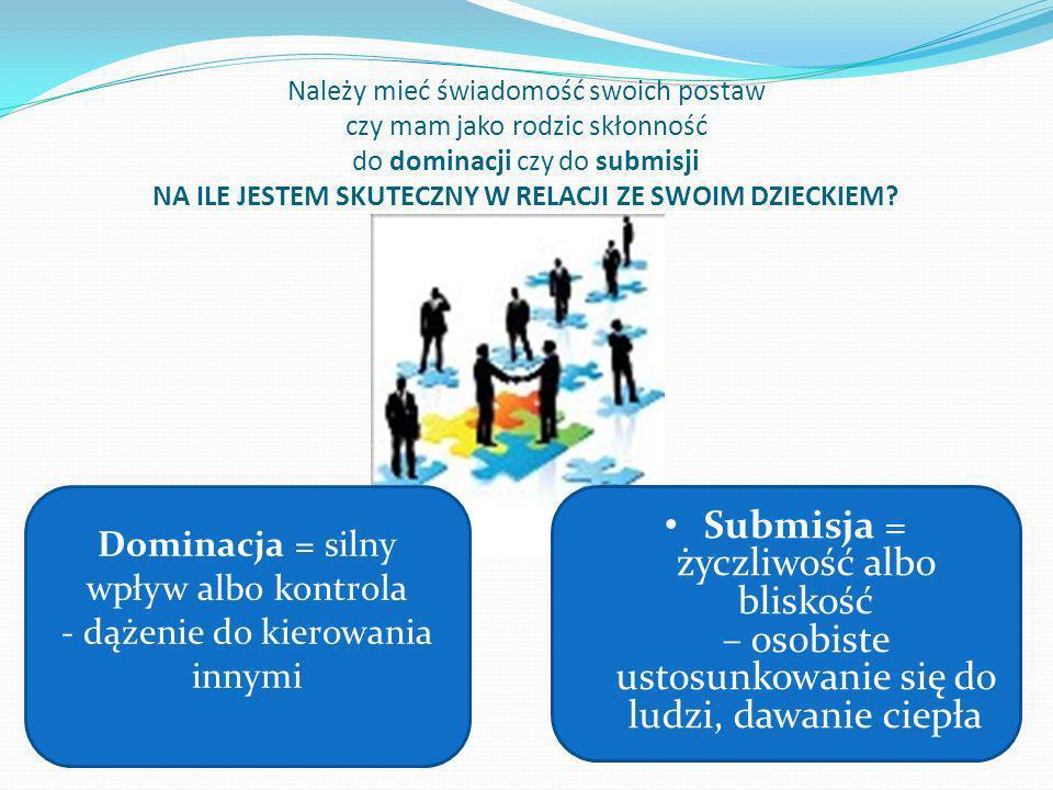 Dominacja = silny wpływ albo kontrola - dążenie do kierowania innymi