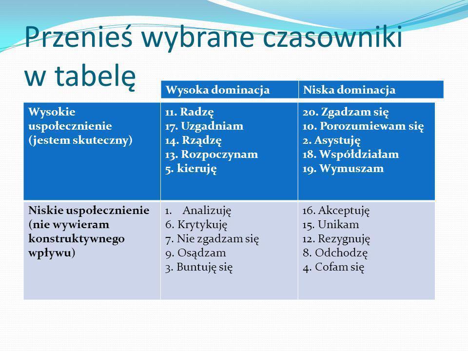 Przenieś wybrane czasowniki w tabelę