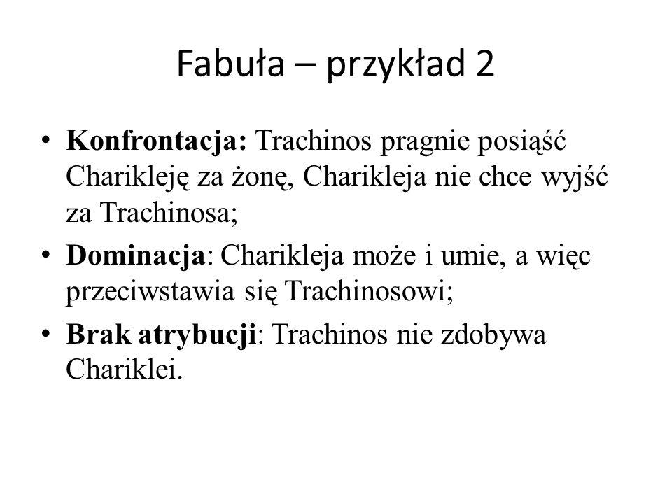 Fabuła – przykład 2 Konfrontacja: Trachinos pragnie posiąść Charikleję za żonę, Charikleja nie chce wyjść za Trachinosa;