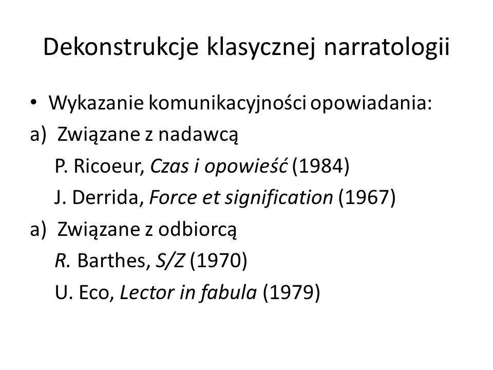 Dekonstrukcje klasycznej narratologii