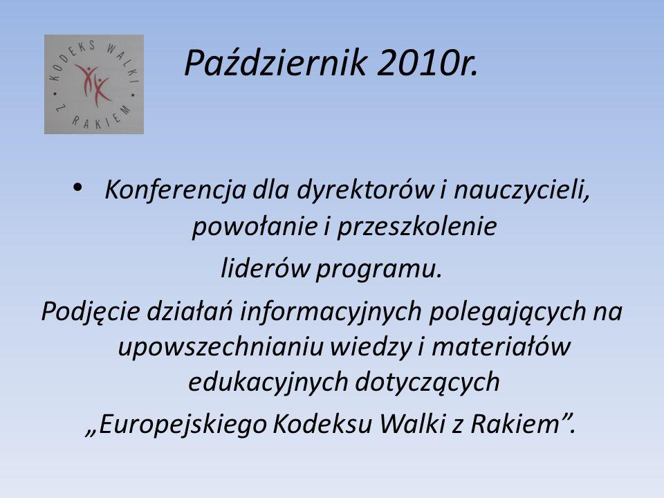 Październik 2010r. Konferencja dla dyrektorów i nauczycieli, powołanie i przeszkolenie. liderów programu.