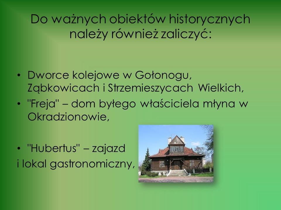 Do ważnych obiektów historycznych należy również zaliczyć: