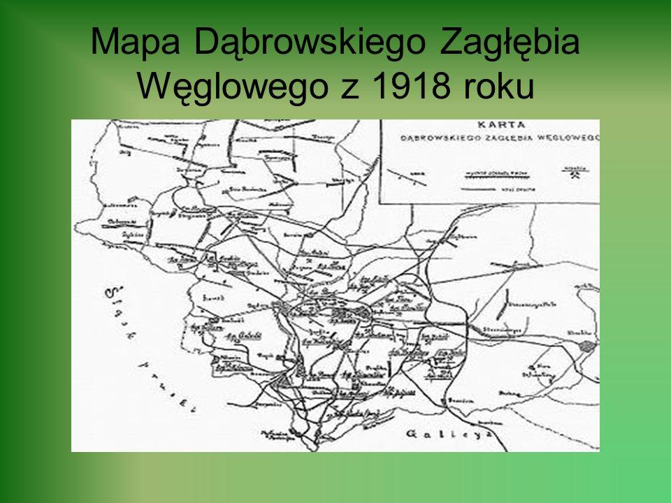 Mapa Dąbrowskiego Zagłębia Węglowego z 1918 roku