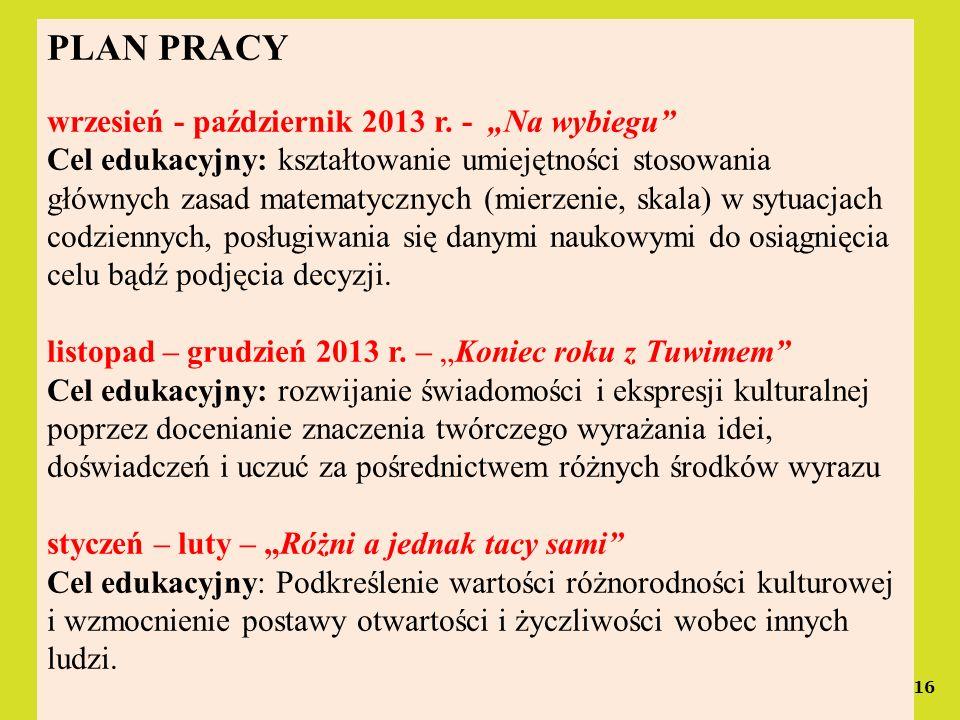 """PLAN PRACY wrzesień - październik 2013 r. - """"Na wybiegu"""