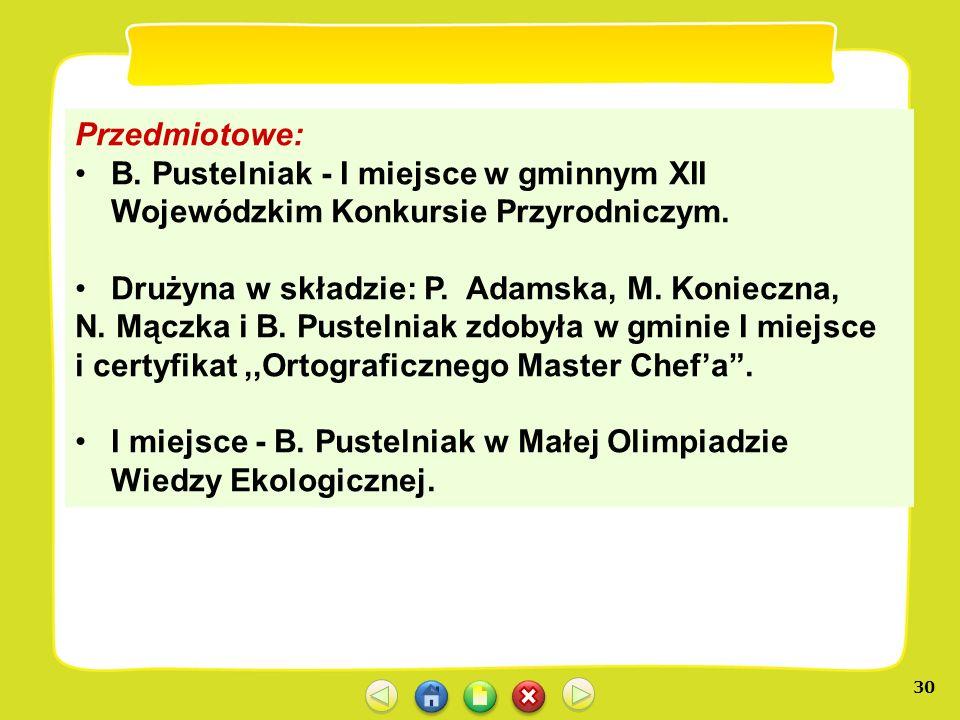 Przedmiotowe: B. Pustelniak - I miejsce w gminnym XII Wojewódzkim Konkursie Przyrodniczym. Drużyna w składzie: P. Adamska, M. Konieczna,