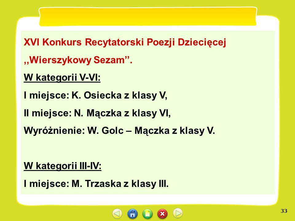 XVI Konkurs Recytatorski Poezji Dziecięcej ,,Wierszykowy Sezam''.