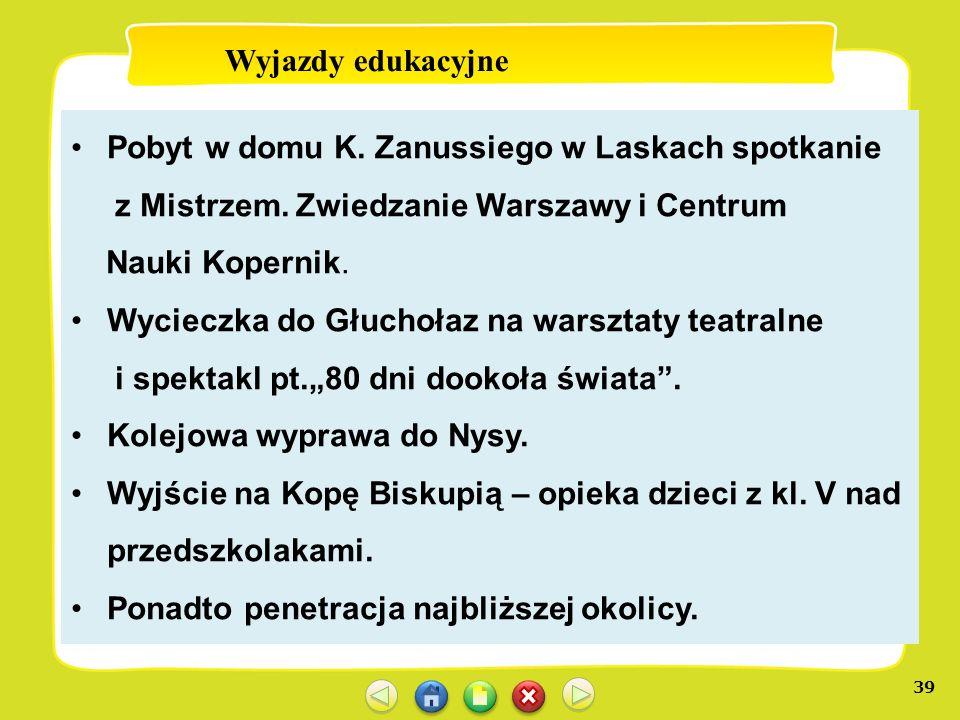 Wyjazdy edukacyjne Pobyt w domu K. Zanussiego w Laskach spotkanie. z Mistrzem. Zwiedzanie Warszawy i Centrum.