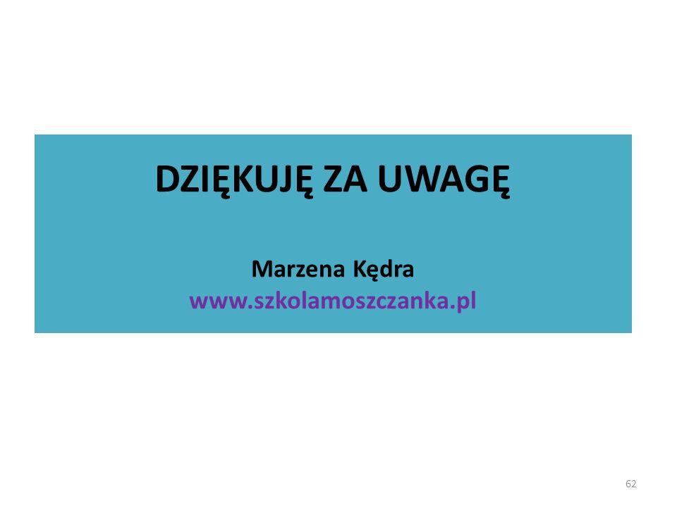 DZIĘKUJĘ ZA UWAGĘ Marzena Kędra www.szkolamoszczanka.pl