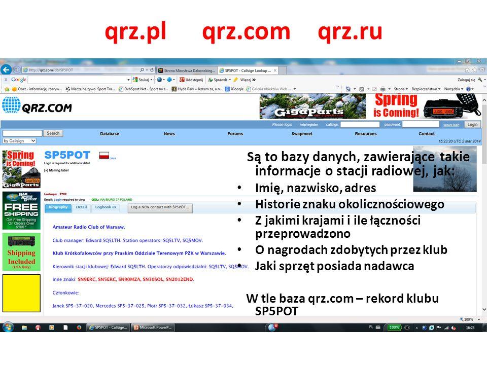 qrz.pl qrz.com qrz.ru Są to bazy danych, zawierające takie informacje o stacji radiowej, jak: Imię, nazwisko, adres.