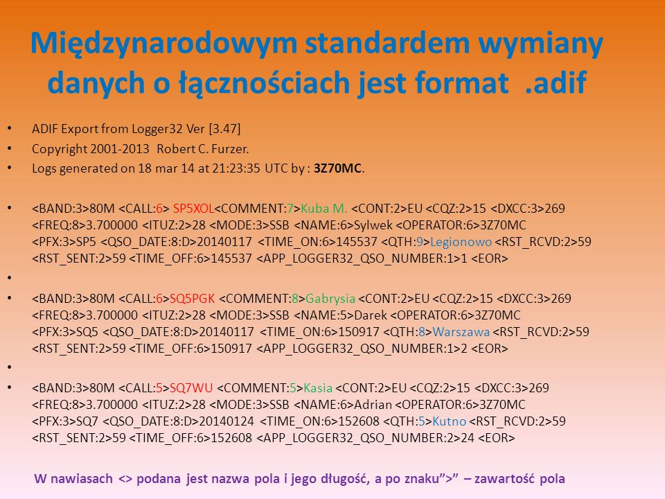 Międzynarodowym standardem wymiany danych o łącznościach jest format