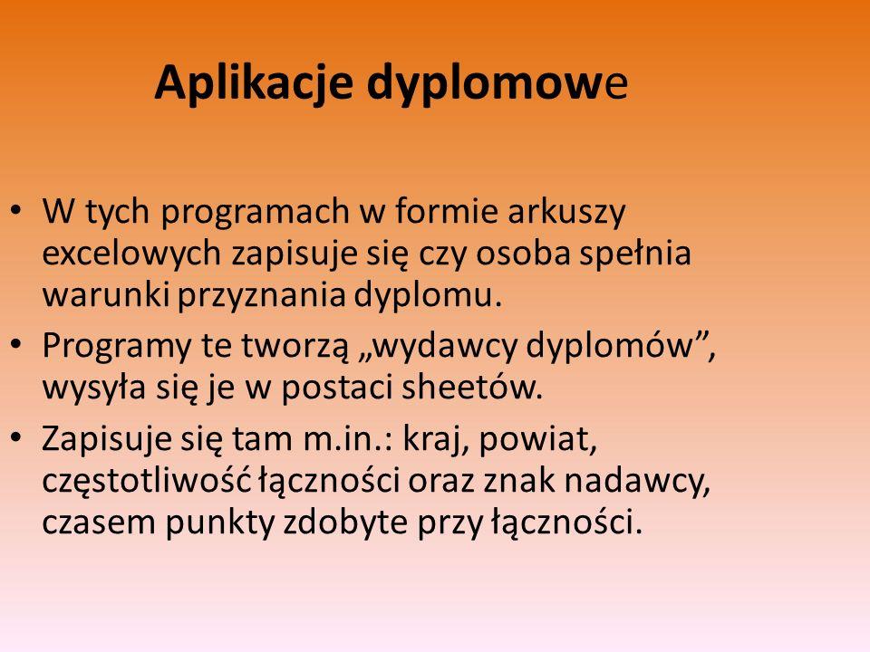 Aplikacje dyplomowe W tych programach w formie arkuszy excelowych zapisuje się czy osoba spełnia warunki przyznania dyplomu.