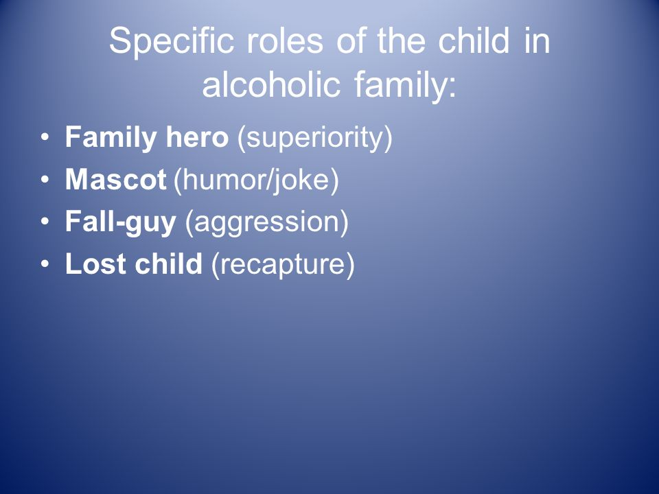 Specific roles of the child in alcoholic family: