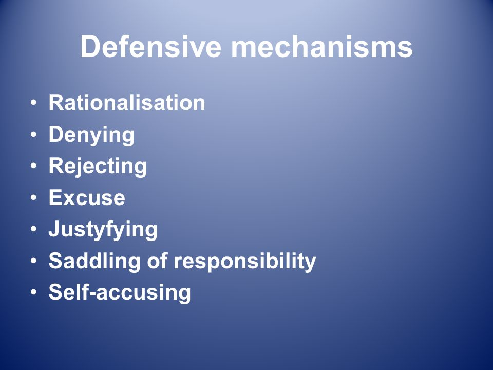 Defensive mechanisms Rationalisation Denying Rejecting Excuse