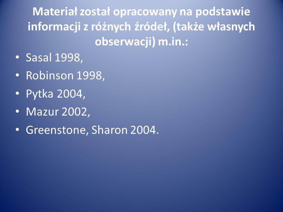 Materiał został opracowany na podstawie informacji z różnych źródeł, (także własnych obserwacji) m.in.: