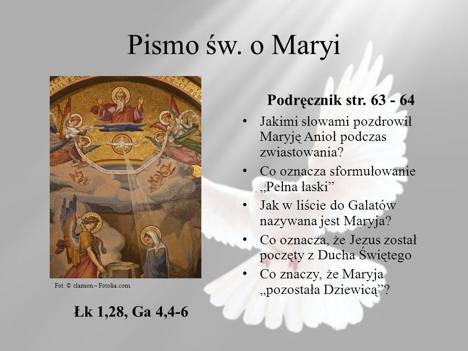 Pismo św. o Maryi Podręcznik str. 63 - 64 Łk 1,28, Ga 4,4-6