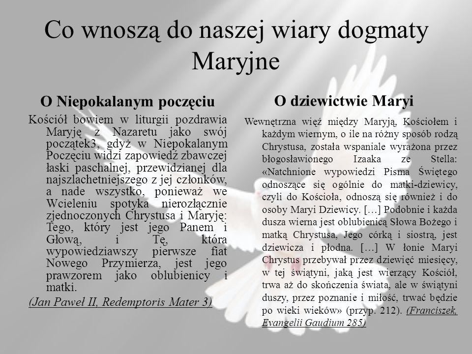 Co wnoszą do naszej wiary dogmaty Maryjne