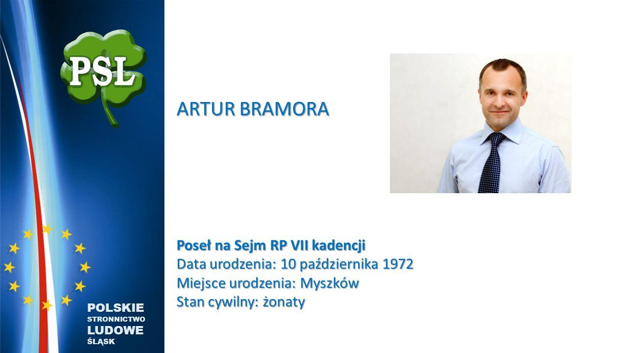 ARTUR BRAMORA Poseł na Sejm RP VII kadencji Data urodzenia: 10 października 1972 Miejsce urodzenia: Myszków Stan cywilny: żonaty.