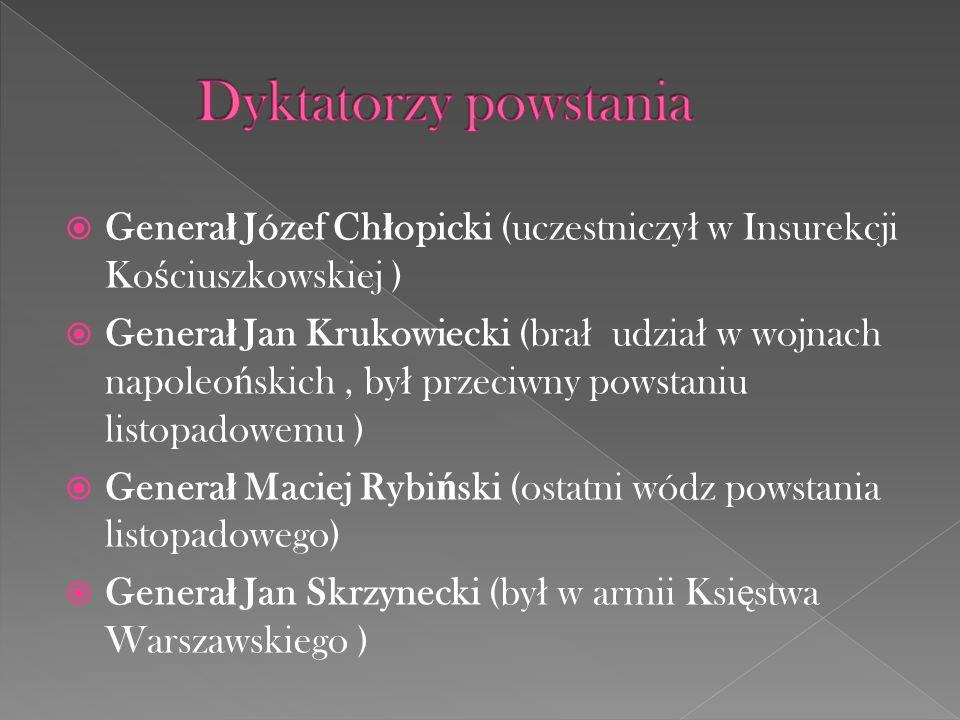Dyktatorzy powstania Generał Józef Chłopicki (uczestniczył w Insurekcji Kościuszkowskiej )