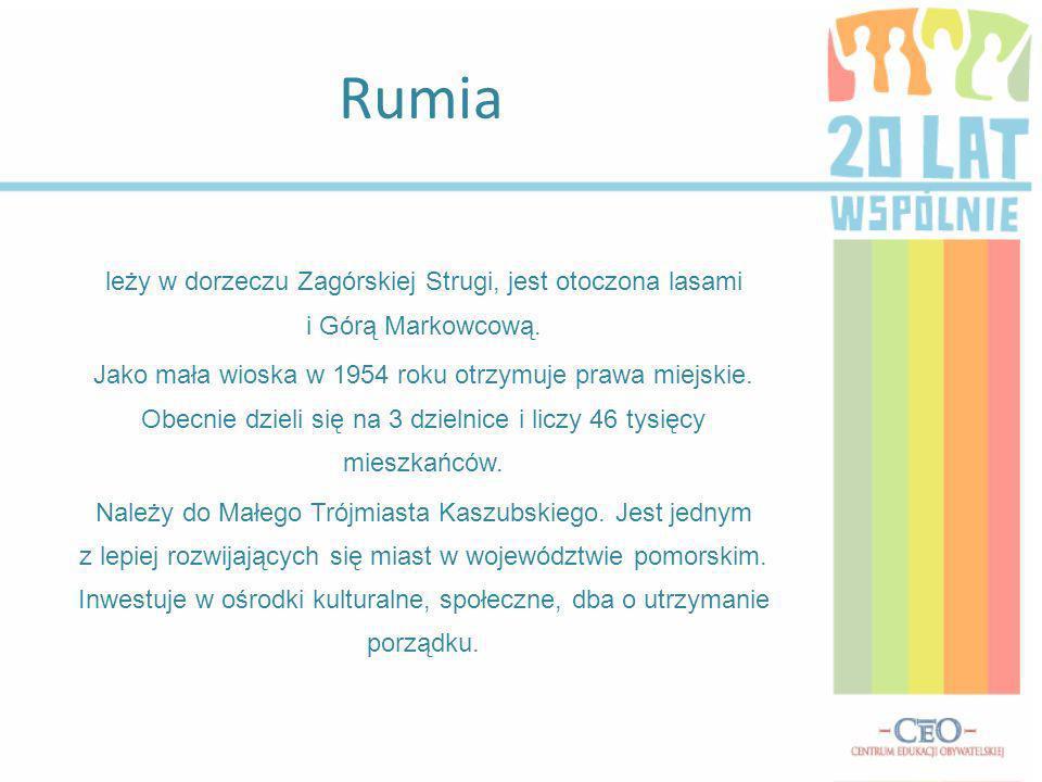 Rumia leży w dorzeczu Zagórskiej Strugi, jest otoczona lasami i Górą Markowcową.