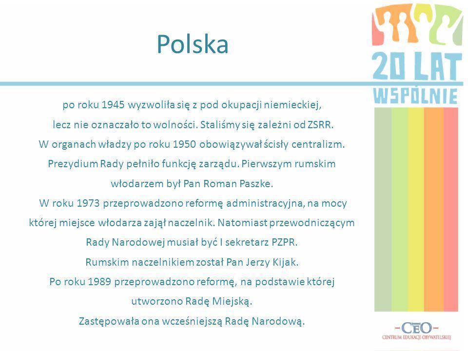 Polska po roku 1945 wyzwoliła się z pod okupacji niemieckiej,