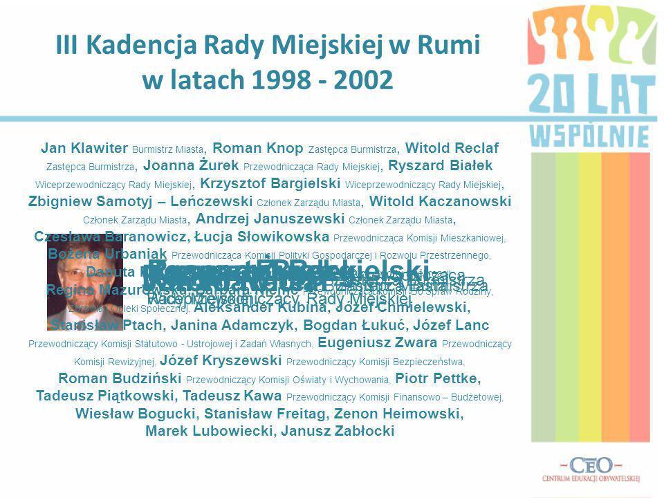 III Kadencja Rady Miejskiej w Rumi w latach 1998 - 2002