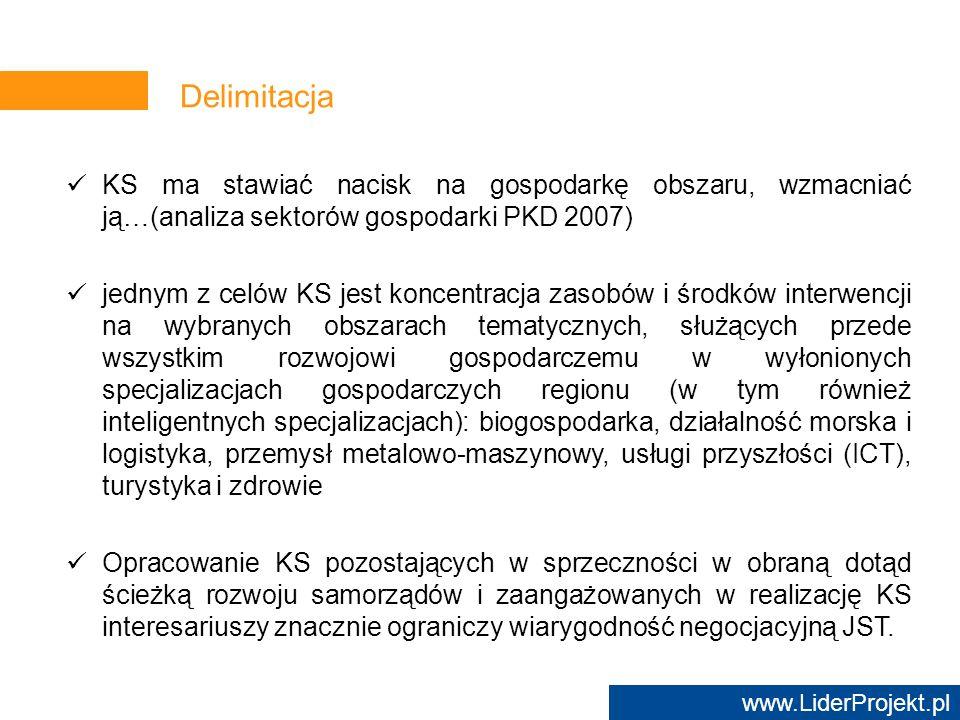 Delimitacja KS ma stawiać nacisk na gospodarkę obszaru, wzmacniać ją…(analiza sektorów gospodarki PKD 2007)