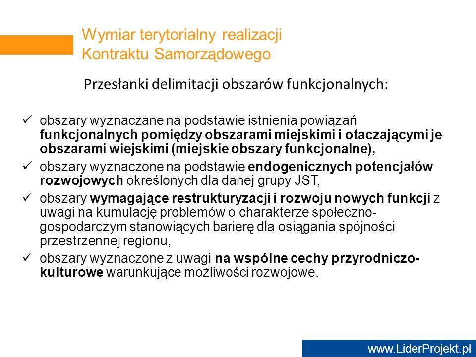 Wymiar terytorialny realizacji Kontraktu Samorządowego
