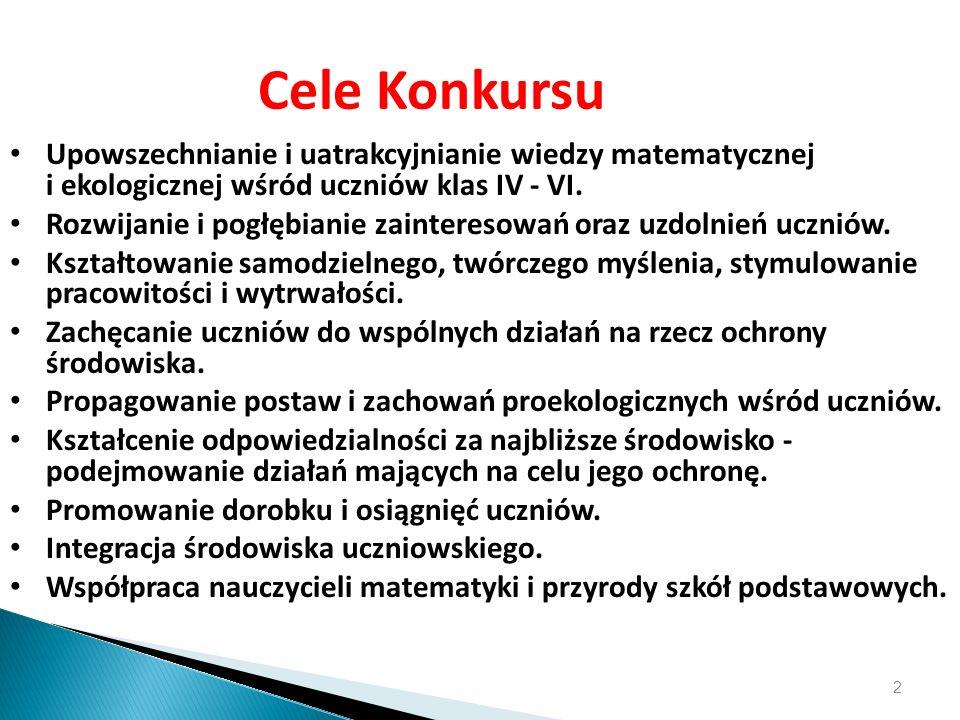 23.03.12Cele Konkursu. Upowszechnianie i uatrakcyjnianie wiedzy matematycznej i ekologicznej wśród uczniów klas IV - VI.