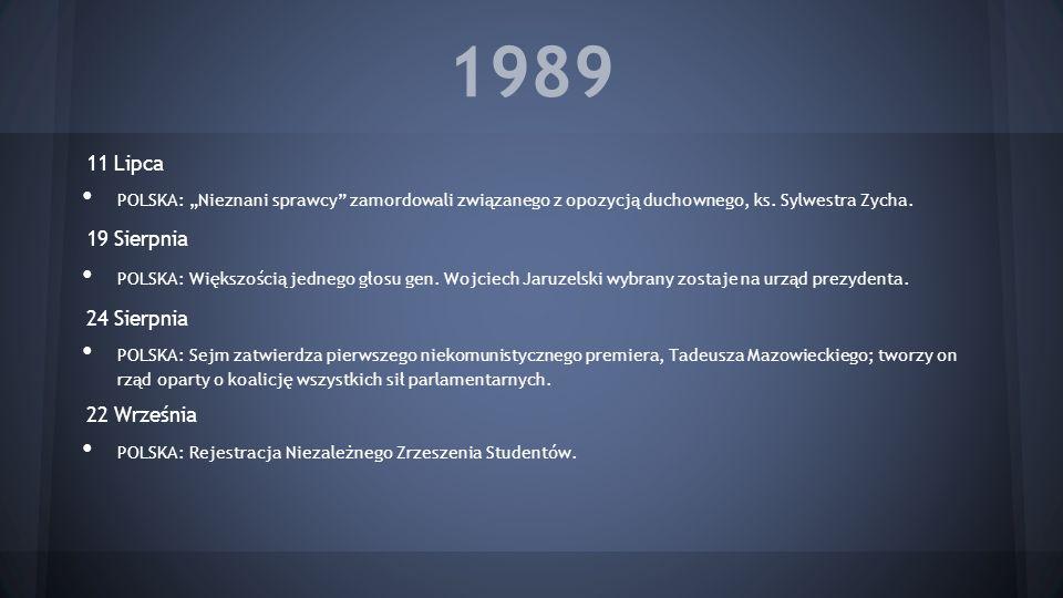 1989 11 Lipca 19 Sierpnia 24 Sierpnia 22 Września