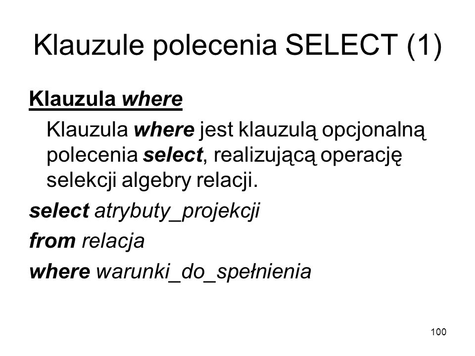Klauzule polecenia SELECT (1)