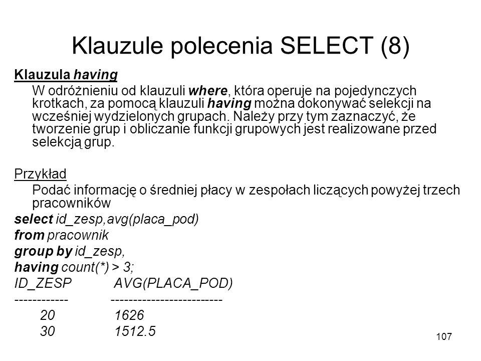 Klauzule polecenia SELECT (8)