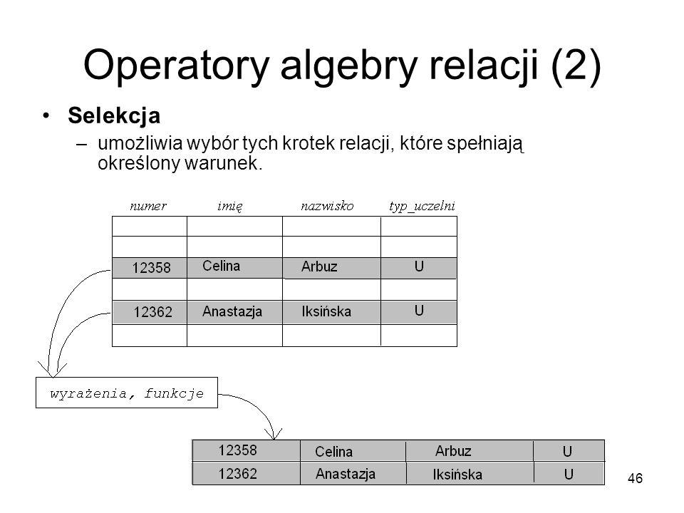 Operatory algebry relacji (2)