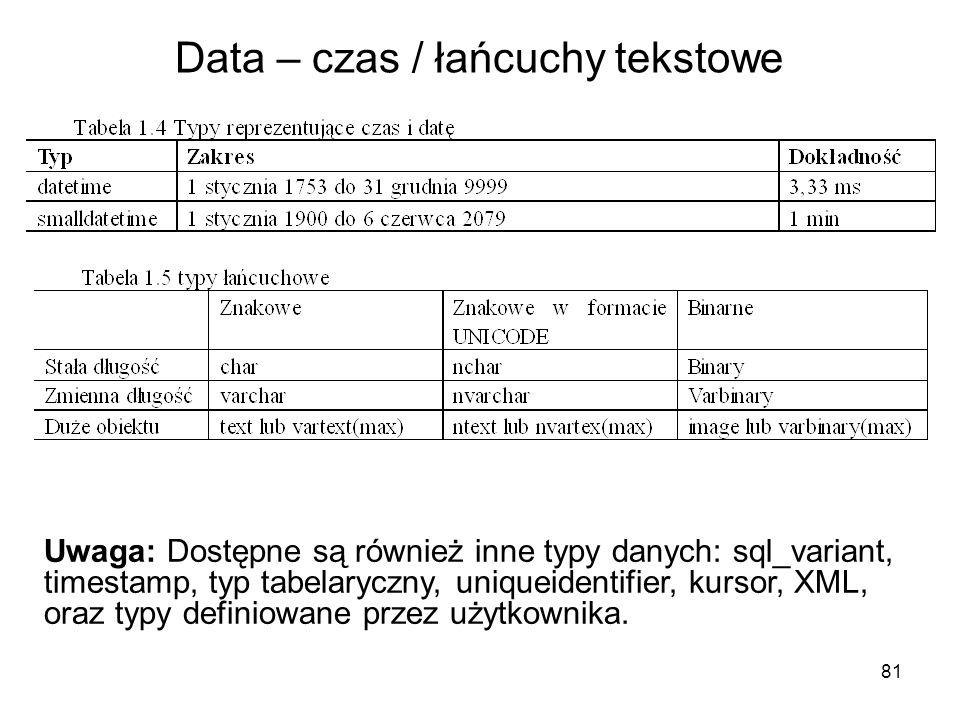 Data – czas / łańcuchy tekstowe